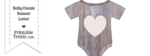 Light Wood Baby Onesie Shaped Banner Heart End Flag