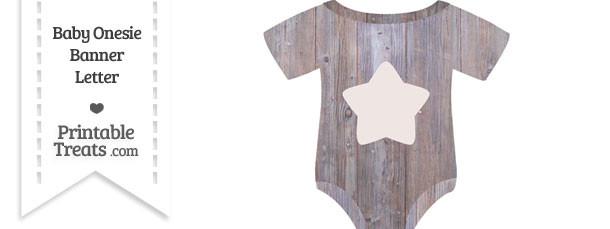 Light Wood Baby Onesie Shaped Banner Star End Flag
