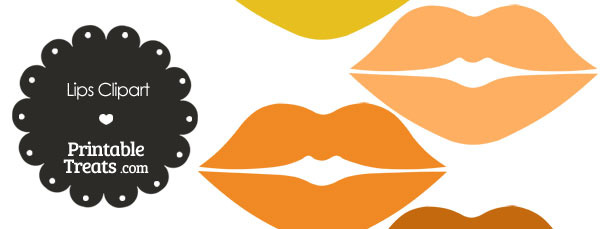 Lips Clipart in Shades of Orange from PrintableTreats.com