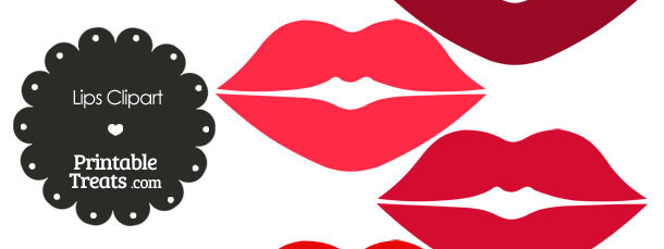 Lips Clipart in Shades of Red from PrintableTreats.com