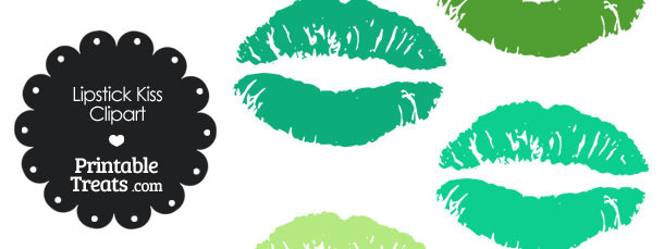 Lipstick Kiss Clipart in Shades of Green