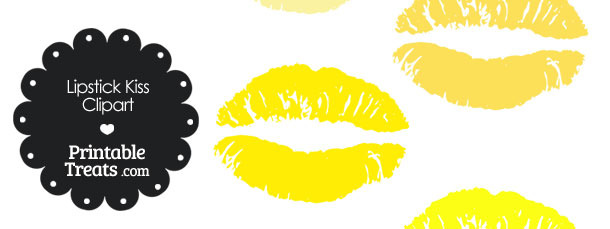 Lipstick Kiss Clipart in Shades of Yellow