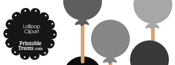 Lollipop Clipart in Shades of Grey