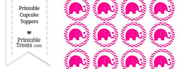 Magenta Baby Elephant Chevron Cupcake Toppers