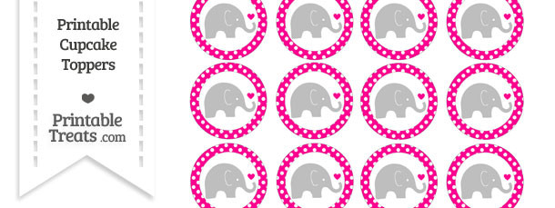 Magenta Polka Dot Baby Elephant Cupcake Toppers