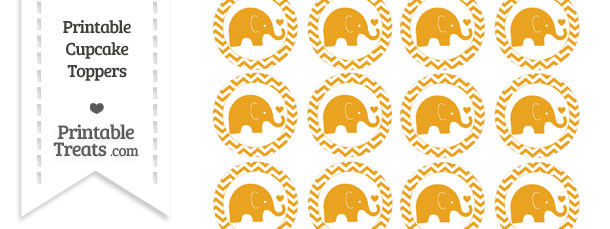 Marigold Baby Elephant Chevron Cupcake Toppers