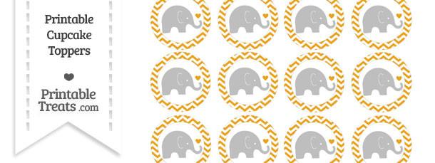 Marigold Chevron Baby Elephant Cupcake Toppers