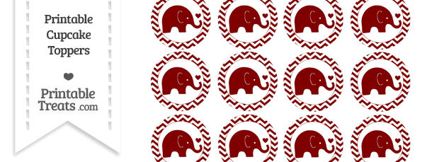 Maroon Baby Elephant Chevron Cupcake Toppers