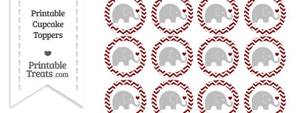 Maroon Chevron Baby Elephant Cupcake Toppers