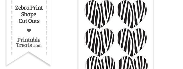 Medium Sized Skinny Zebra Print Heart Cut Outs