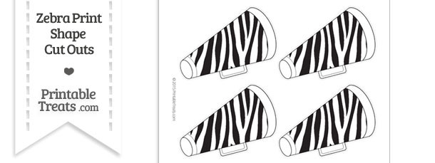 Medium Sized Zebra Print Cheer Megaphone Cut Outs