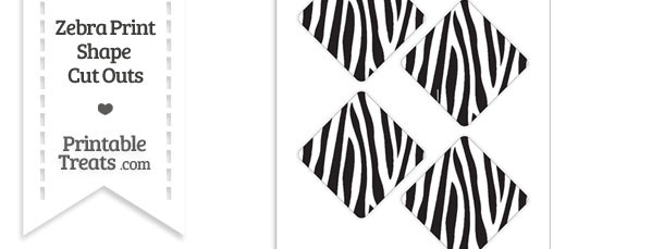 Medium Sized Zebra Print Diamond Cut Outs