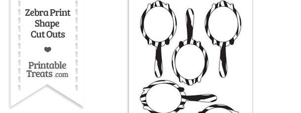 Medium Sized Zebra Print Fancy Hand Mirror Cut Outs