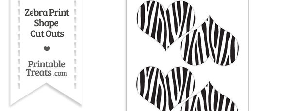 Medium Sized Zebra Print Heart Cut Outs