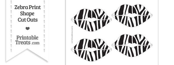 Medium Sized Zebra Print Lips Cut Outs