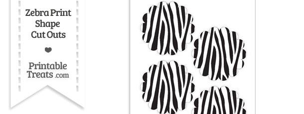 Medium Sized Zebra Print Scalloped Circle Cut Outs