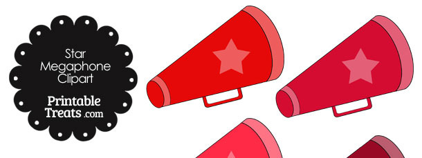 Megaphone Clipart in Shades of Red