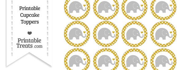 Metallic Gold Polka Dot Baby Elephant Cupcake Toppers