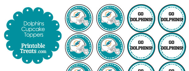 Miami Dolphins Cupcake Toppers