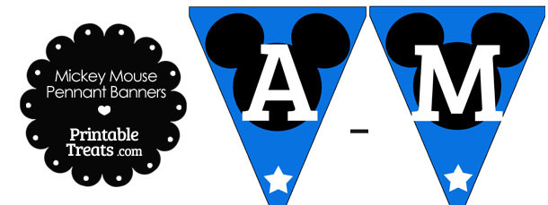 Mickey Mouse Banner Letters A-M in Blue