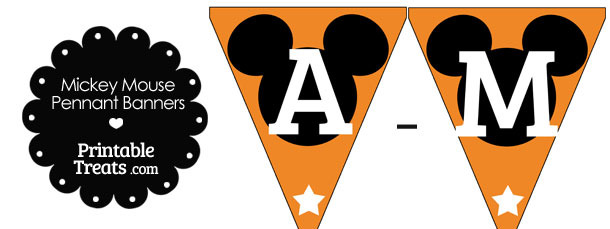 Mickey Mouse Banner Letters A-M in Orange