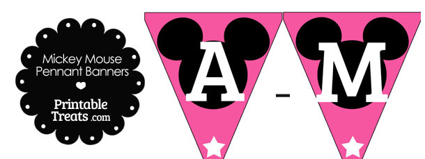 Mickey Mouse Banner Letters A-M in Pink