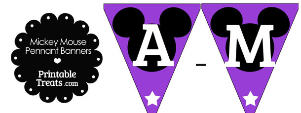 Mickey Mouse Banner Letters A-M in Purple