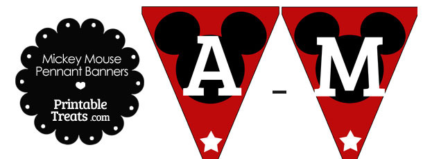 Mickey Mouse Banner Letters A-M in Red