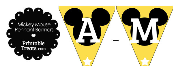 Mickey Mouse Banner Letters A-M in Yellow
