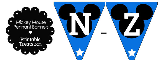 Mickey Mouse Banner Letters N-Z in Blue