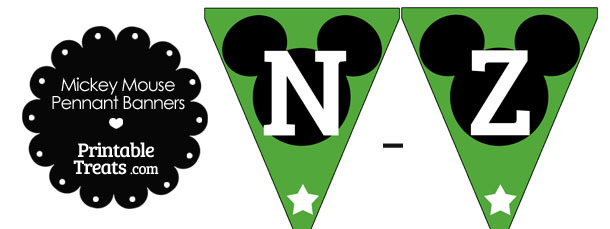Mickey Mouse Banner Letters N-Z in Green