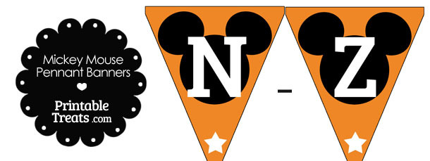 Mickey Mouse Banner Letters N-Z in Orange