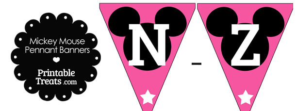 Mickey Mouse Banner Letters N-Z in Pink