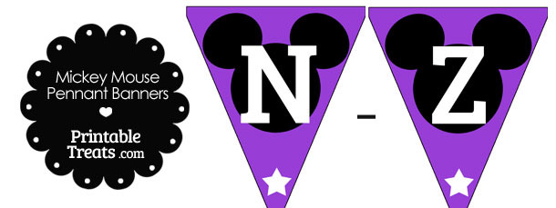 Mickey Mouse Banner Letters N-Z in Purple