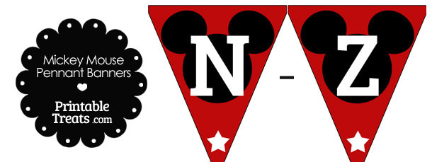 Mickey Mouse Banner Letters N-Z in Red