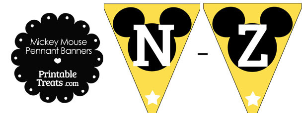 Mickey Mouse Banner Letters N-Z in Yellow
