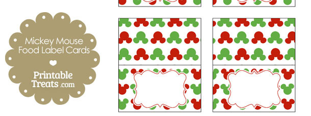 Mickey Mouse Christmas Food Labels