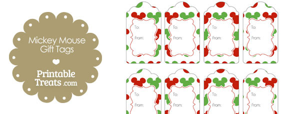 Mickey Mouse Christmas Gift Tags