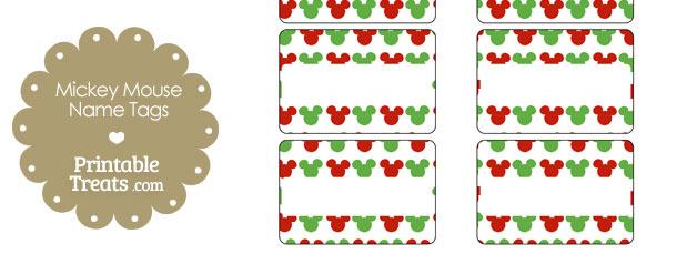 Mickey Mouse Christmas Name Tags — Printable Treats.com