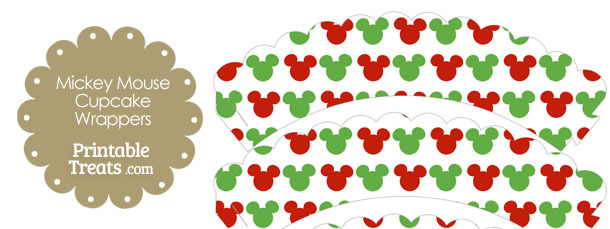Mickey Mouse Christmas Scalloped Cupcake Wrappers