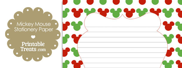 Mickey Mouse Christmas Stationery Paper