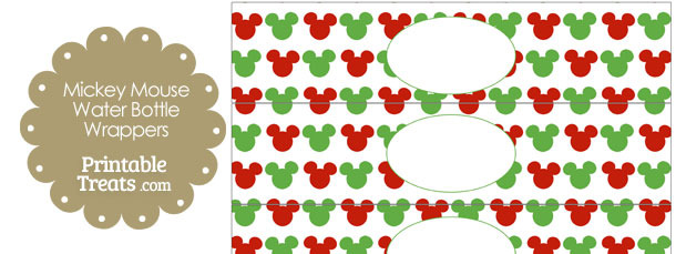 Mickey Mouse Christmas Water Bottle Wrappers — Printable ...
