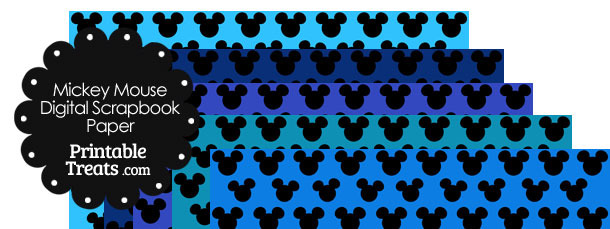 Mickey Mouse Digital Scrapbook Paper with Blue Background