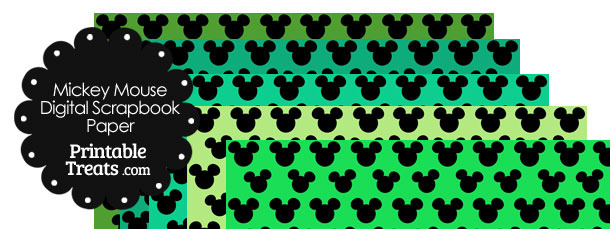 Mickey Mouse Digital Scrapbook Paper with Green Background