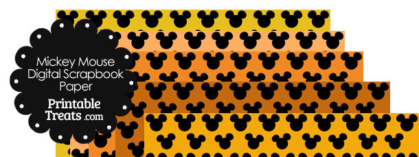 Mickey Mouse Digital Scrapbook Paper with Orange Background