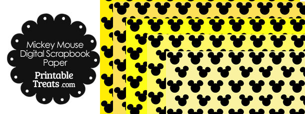 Mickey Mouse Digital Scrapbook Paper with Yellow Background