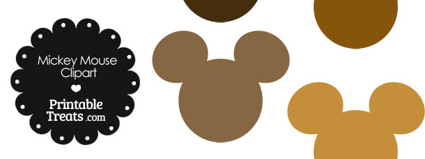 Mickey Mouse Head Clipart in Shades of Brown