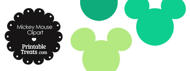 Mickey Mouse Head Clipart in Shades of Green
