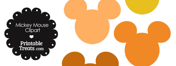 Mickey Mouse Head Clipart in Shades of Orange