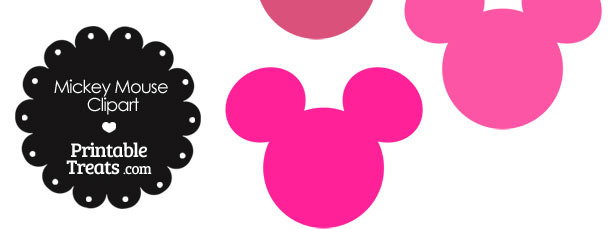 Mickey Mouse Head Clipart in Shades of Pink